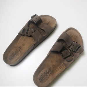 BIOSTEP Suede Double Strap Adjustable Brown Sandal